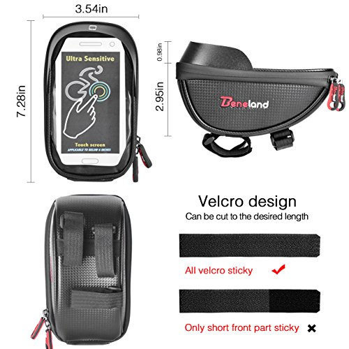 Bike Bag, Waterproof Touch Screen Bicycle Handbar Front Phone Frame Bag Holder For iPhone 8 7 Plus 6s 6 plus 5s 5 / Samsung Galaxy s7 s6 note 7 Cellphone Below 6.0 Inch With Sun Visor by Beneland (Image #2)