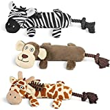 Collections Etc Zoo Animal Squeaky Plush Dog Chew Toys Set, 3 Pc