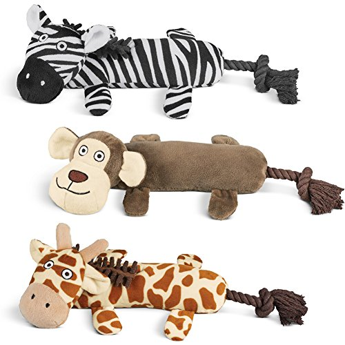 Cheap Collections Etc Zoo Animal Squeaky Plush Dog Chew Toys Set, 3 Pc