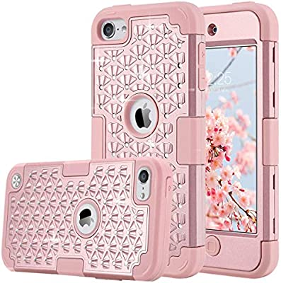 big sale c054d 8e0e3 ULAK iPod Touch Case 5 6th Generation, iPod Touch 7 Case, Bling Glitter  Hybrid Heavy Duty Protection Shockproof High Impact Resistant Hard PC Soft  ...