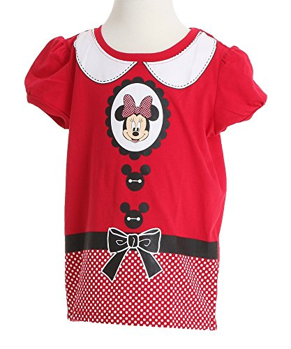 [Disney Little Girls' Minnie Mouse Costume Girls T-Shirt, Red, 2T] (Little Girl Minnie Mouse Costumes)