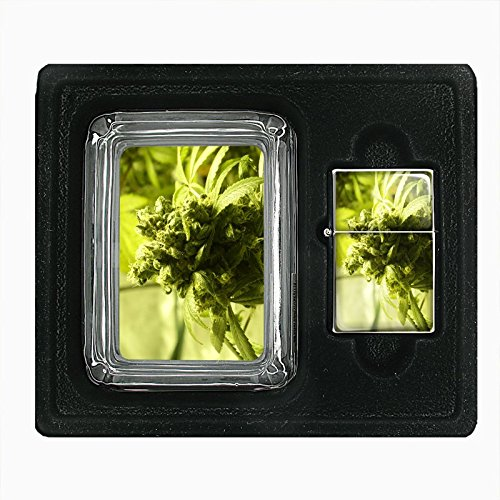 Vintage-Marijuana-S10-Custom-Glass-Ashtray-Gift-Set-with-Flip-Top-Oil-Lighter-420-Weed-Classic-Images