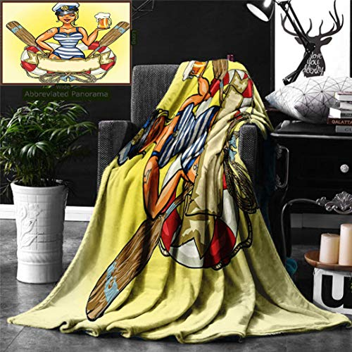 (Ralahome Unique Custom Double Sides Print Flannel Blankets Girly Decor Pin-Up Sexy Sailor Girl In Lifebuoy Captain Hat Costume Glass Super Soft Blanketry Bed Couch, Throw Blanket 60 x 50)
