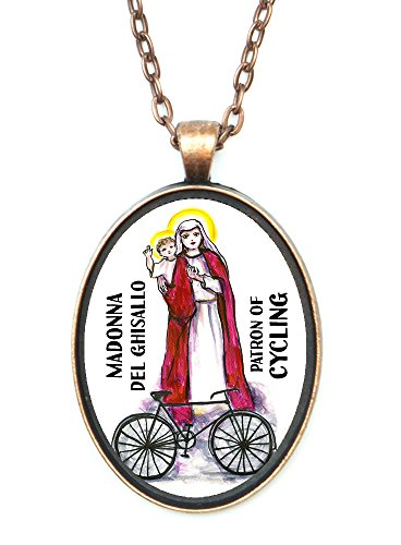 Madonna Del Ghisallo Patron of Cycling Huge 30x40mm Antique Copper Pendant with Chain Necklace