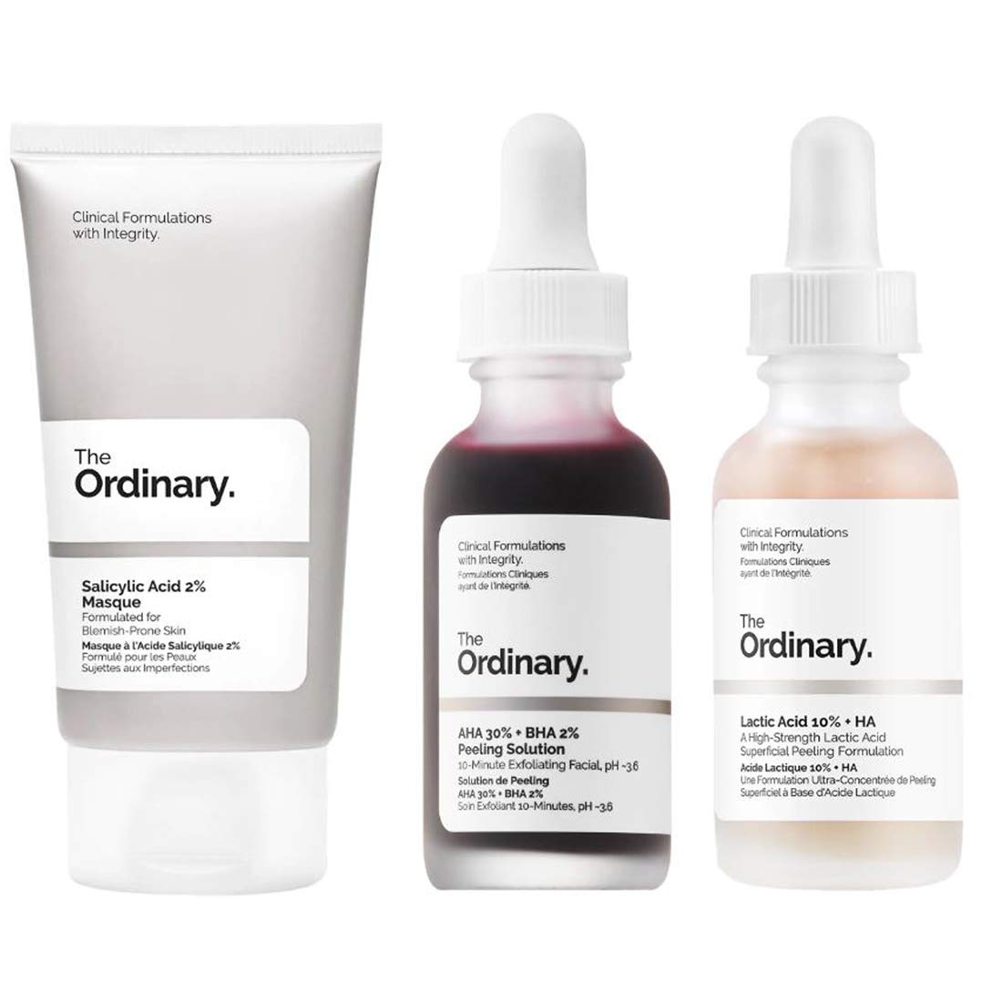 The Ordinary Face Exfoliator Set! AHA 30% + Bha 2% Peeling Solution Help Fight Visible Blemishes! Lactic Acid 10% + Ha For Healthier-Looking Skin! Salicylic Acid 2% Mask Smoothness & Clarity!