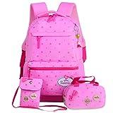 YQWEL Kid's Backpacks Girls School Backpack Purse Lunch Bag 3 in 1(Pink-2)