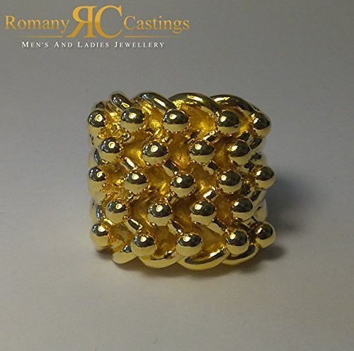 Men s 5 Row Keeper ring 9ct Solid Yellow Gold Ring 28 grams Fully