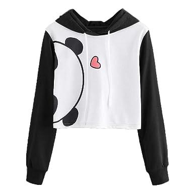 de0e5a47c30 Women's Panda Print Long Sleeve Cute Fashion Hoodie Crop Top Teen Girl Hooded  Pullover Sweatshirts (