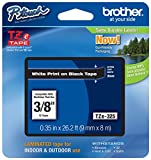 """Genuine Brother 3/8"""" (9mm) White on Black TZe P-Touch Tape for Brother PT-1750, PT1750 Label Maker"""