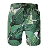 confirm vt Banana Leaves Men's/Boys Casual Swim Trunks Short Elastic Waist Beach Pants with Pockets