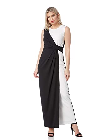 Roman Originals Womens Monochrome Maxi Wrap Dress - Ladies Evening Black Tie Formal Dinner Party Prom Dresses - Ivory Black: Amazon.co.uk: Clothing