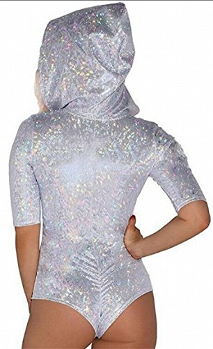 M&S&W Women One Piece Bandage Hollow Out Hoodie Sequins Half Sleeve Swimwear Bodysuit