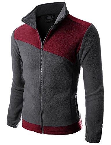 Doublju Mens Colleage NFL Basketball Comfort CHARCOALWINE Light Weight Jacket,XL