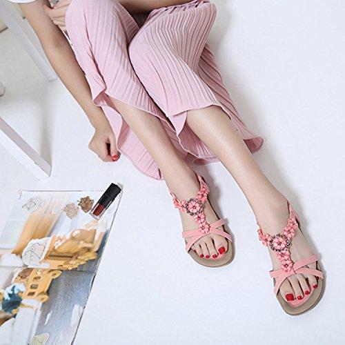 Ouvert Été à de Rose Talons Plats Bout Claquettes Sandales Plates Femmes Matelassée Tongs Chaussures Ville Semelle Frestepvie nZS01gYx