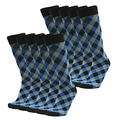 Business Suit Socks, SUTTOS Unisex Womens Mens Crazy Fun Blue Black Diamond Sharp Patterned Knee High Long Tube Over The Calf Dress Socks, 10 Pairs