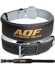 """AQF 4"""" Läder Vikt Lyftning Bälte Vadderad Ländrygg Rygg Stöd Med Mocka Foder Och Stålrulle Spänne Konturerad Fitness Träning Bodybuilding"""