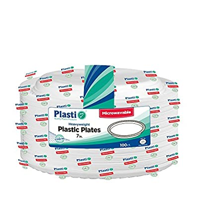 Plasti Plus 100 Count Disposable Plastic Heavy Weight Plates Microwave Safe 7'' Inch White