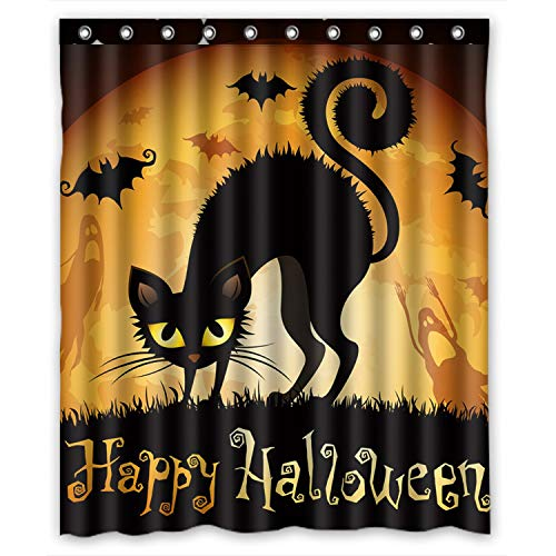 FMSHPON Happy Halloween Black Cat Bat All Saints Day Ghost Moon Waterproof Polyester Fabric Bath Shower Curtain 60x72 Inches