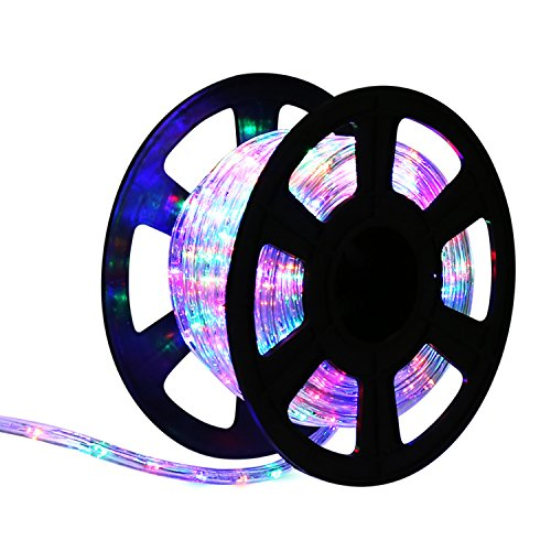 Kinbor 150FT 2 Wire LED Rope Light Home In/Outdoor Christmas Decorative Home Holiday Party Lighting Restaurant Cafe Decor (RGBW)