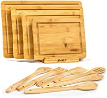 Smirly Bamboo Cutting Board Set: Wood Cutting Boards for Kitchen, Wood Cutting Board Set, Chopping Board Set, Wooden...