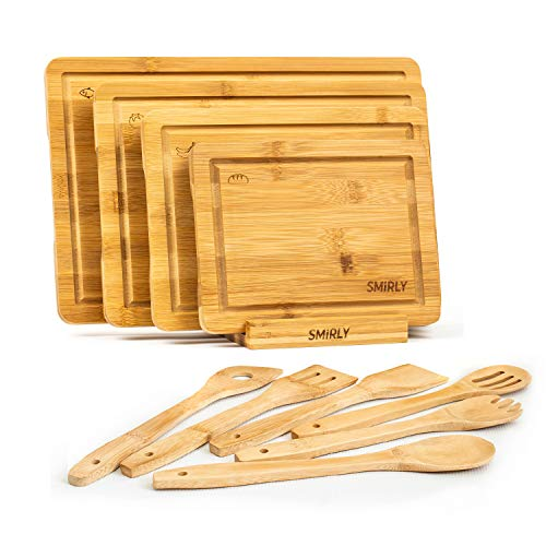 Smirly Bamboo Cutting Board Set: Wood Cutting Boards for Kitchen, Wood Cutting Board Set, Chopping Board Set, Wooden Cutting Boards for Kitchen Large Wooden Cutting Board Set, Small Cutting Board Wood
