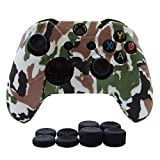 Hikfly Silicone Gel Controller Cover Skin Protector Kits for Xbox One Controller Video Games(1 x Controller Camouflage cover with 8 x Thumb Grip Caps)(White)