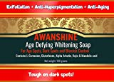 Awanshine whitening soap with Age Defying properties for age spots, dark spots, freckles, dark knees, dark knuckles, Hyperpigmentation. Contains Glutathione, Kojic acid, Arbutin and Mandelic acid