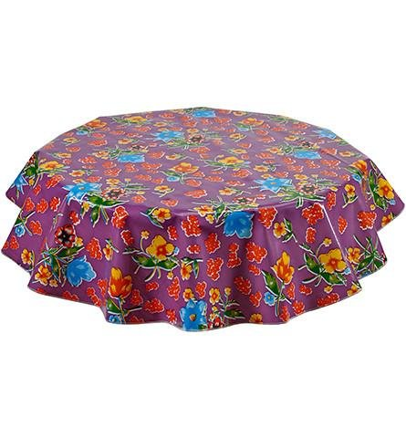 Round Freckled Sage Oilcloth Tablecloth in Istanbul Purple - You Pick The Size!