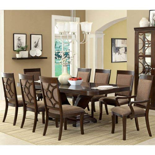 24/7 Shop at Home 247SHOPATHOME IDF-3663T-9PC Dining-Room-Sets, 9-Piece, Brown