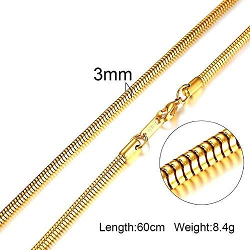 Elibone Men Women Necklace Gold Tone Snake Miami Cuba Wheat Spiga Paima Link Round Box Curb Chain 24