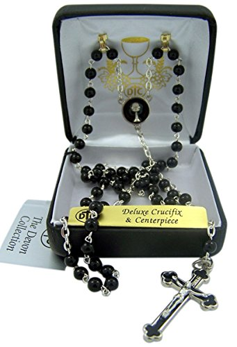 First Communion Black Prayer Bead Rosary with Enamel Chalice Centerpiece, 12 Inch