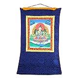 Shalinindia Buddhism Decor- Hanging Silk Canvas Scroll Art - Mandala Wall Tapestry, 30x23 Inches