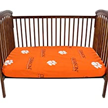 """College Covers CLECSFSPR Clemson Tigers Fitted Crib Sheets, 28"""" x 52"""" x 6"""", Team Color"""