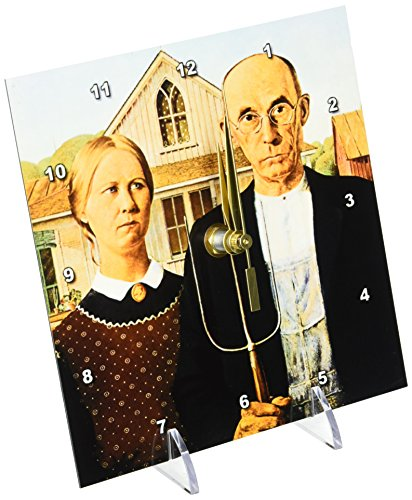 3dRose dc_130186_1 American Gothic by Grant Wood Desk Clock, 6 by 6'' by 3dRose (Image #2)