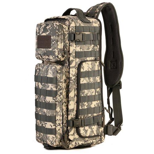 JWBB Ventiladores bolso táctico militar, hombre de satchel, deportes mochila multifunción, camuflaje, la pesca y la mochila marea,Plata color ACU ACU color plata