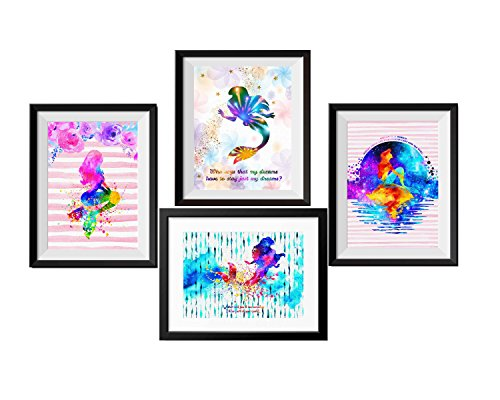 Uhomate 4 pcs Set Princess Ariel The Little Mermaid Abstract Art Canvas Wall Art Anniversary Gifts Baby Gift Inspirational Quotes Wall Decor for Living Room Wall Decorations for Bedroom M029 (8X10)