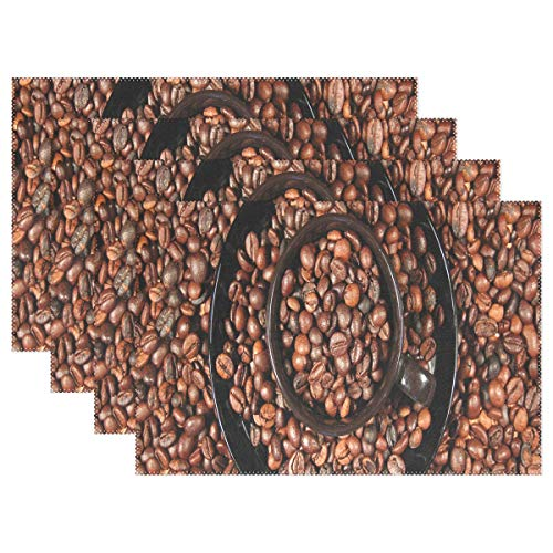 (DERTYV Heat Resistant Placemats for Kitchen Table Mats for Dinning Room,Natural Coffee Beans Washable Insulation Non Slip Placemat 12x18IN)