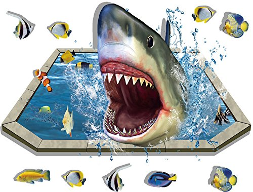 (Mr.S Shop Wall Sticker Removable 3D Effect Shark Vinyl Decals for Bathroom Kids Bedroom Floor Decor Mural Wall Sticker)