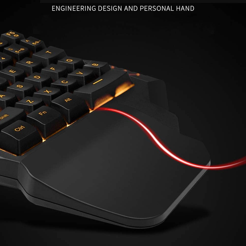 35-Key Ergonomic Design Colorful RGB Backlight Professional Waterproof Portable USB Mini Gaming Keyboard WANGCHAO One-Hand Mechanical Gaming Keyboard