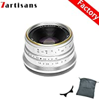 7artisans 25mm F1.8 Manual Focus Lens for Sony Emount Cameras Like A7 A7II A7R A7RII A7S A7SII A6500 A6300 A6000 A5100 A5000 EX-3 NEX-3N NEX-3R NEX-F3K NEX-5 NEX-5N - Silver