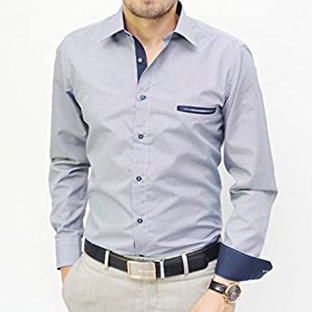 Camisa de cuadros pequeños, color azul marino Azul azul ...