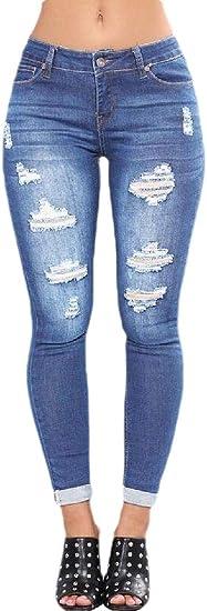 Keaac 女性かわいい苦しんでいるジーンズリッピングボーイフレンドジーンズストレッチジーンズは穴付きジーンズ