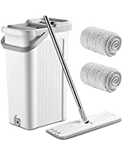 LIVINGbasics Self-Wash and Squeeze Dry Flat Mop and Bucket Set for Floor Cleaning, Microfiber Floor Mop with 2 Reusable Refills Stainless Steel Handle Household Mop Buckets for Hardwood Tile Laminate Floors