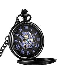 Mechanical Pocket Watch Skeleton Hand-wind engraved Metal Blue Black