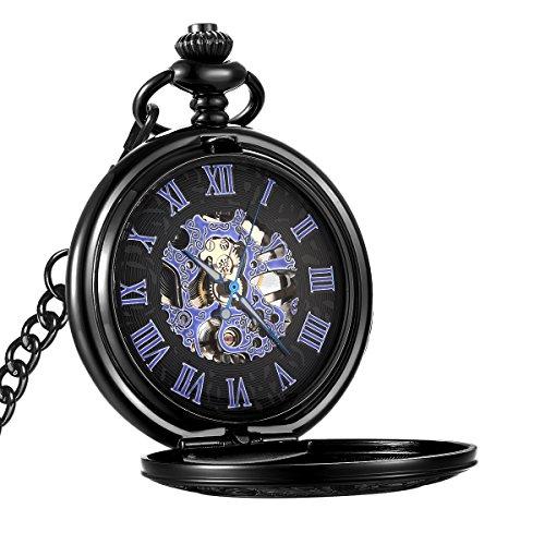 LYMFHCH Mechanical Pocket Watch Skeleton Hand-wind engraved Metal Blue (Metal Pocket Watch)