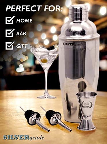 Cocktail Shaker Set - Professional Martini Bartender Kit - 24 Ounce Stainless Steel Shaker with Built-in Strainer and Lid, Double Jigger, 2 Liquor Pourers, 50 Cocktail Recipes eBook - by SILVERgrade by SILVERgrade (Image #5)