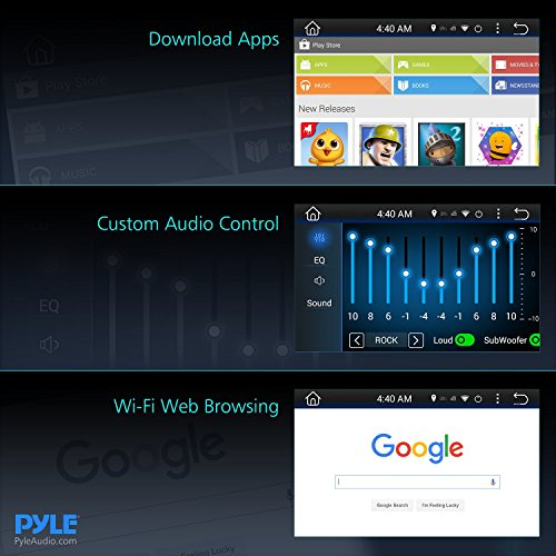 Premium 7In Double-DIN Android Car Stereo Receiver With Bluetooth - HD DVR Dash Cam and Rearview Backup Camera - Touchscreen Display With Wi-Fi Web Browsing And App Download by Pyle (Image #5)