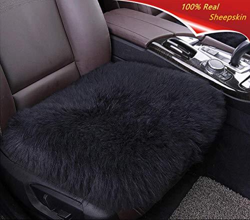 Sisha Sheepskin Seat Cushion Cover Winter Warm Natural Wool Car Seat Covers Universal Fit Most Car, Truck, SUV Van Front ()