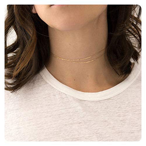 S.J JEWELRY Fremttly Womens Friendship Gift Handmade 14k Gold Filled Dainty Bead Chain Round Wafer Chain Choker Layering Choker Necklace for Mothers Day-CK7-DO