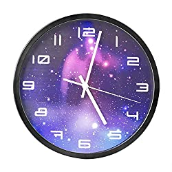Egundo Metal Silent Wall Clock 12-Inch Non-ticking Quartz Movement Battery Operated Fashionable Starry Sky Decorations for Home Office (Black)